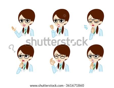 Schoolgirl Facial expression set - stock vector