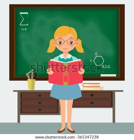Schoolgirl in a classroom  standing at the blackboard - stock vector