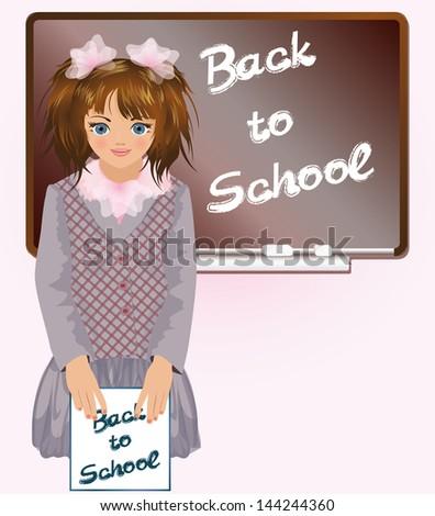 Schoolgirl with notebook Back to school,   vector illustration - stock vector