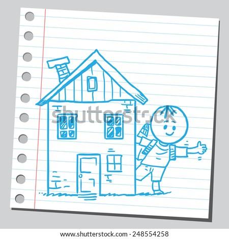 Schoolkid behind house - stock vector