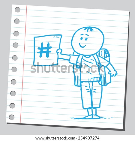 Schoolkid holding hashtag sign - stock vector