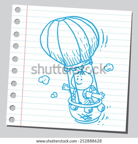 Schoolkid in air balloon - stock vector