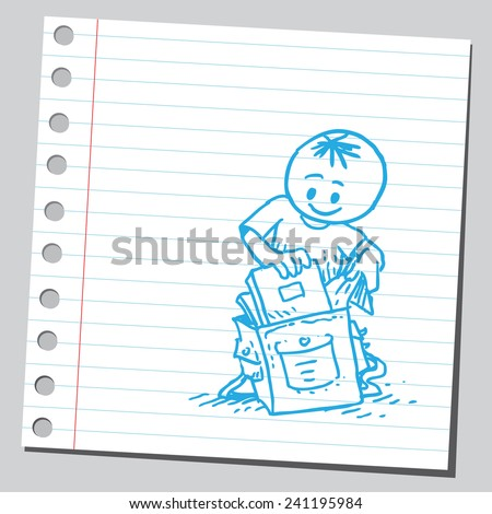 Schoolkid putting book in schoolbag