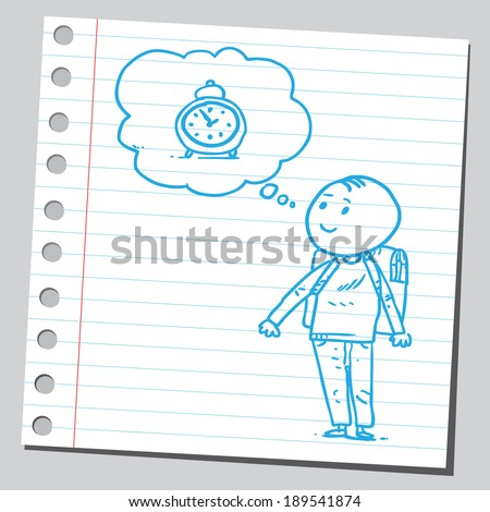 Schoolkid think about clock - stock vector
