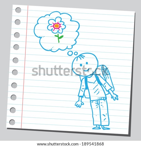 Schoolkid think about flower - stock vector