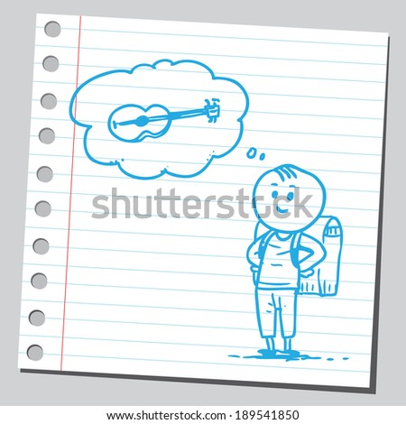 Schoolkid think about guitar - stock vector