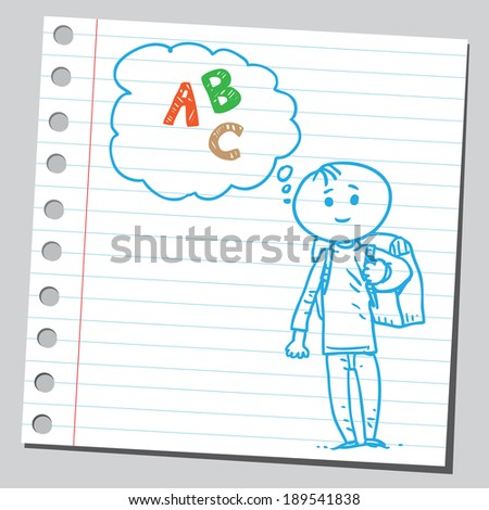 Schoolkid think about letters - stock vector