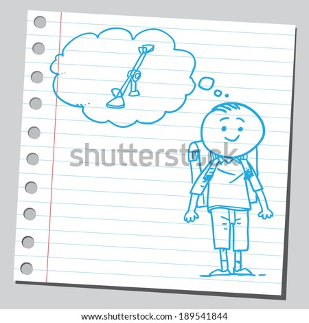 Schoolkid think about seesaw - stock vector