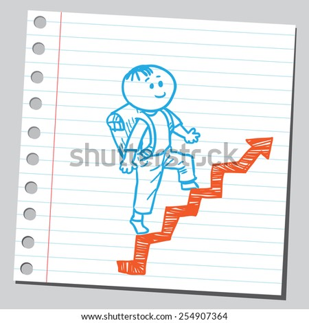 Schoolkid walking up on arrow stairs - stock vector