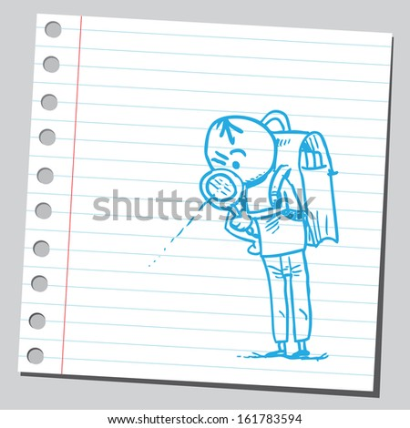 Schoolkid with magnifying glass - stock vector
