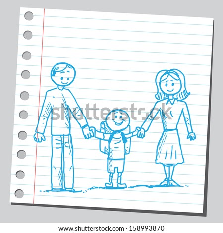 Schoolkid with mother and father