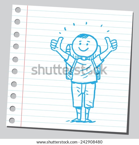 Schoolkid with thumbs up  - stock vector