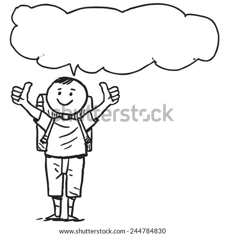 Schoolkid with thumbs up speaking - stock vector