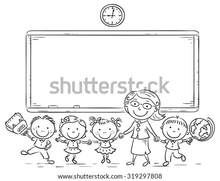 Schoolkids and teacher at the blackboard, black and white outline - stock vector