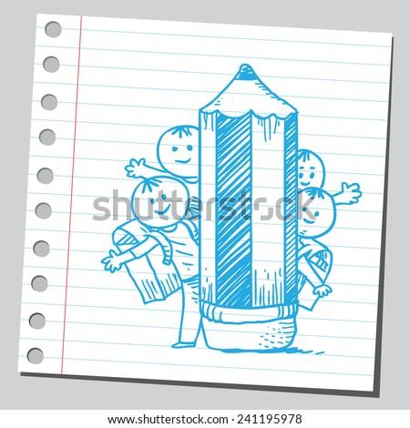 Schoolkids behind wooden pencil - stock vector