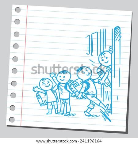 Schoolkids entering school bus - stock vector