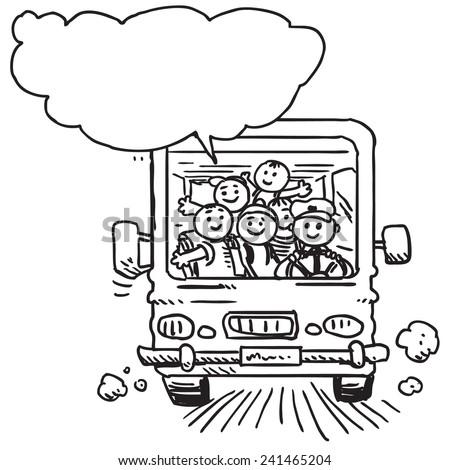 Schoolkids in school bus speaking - stock vector