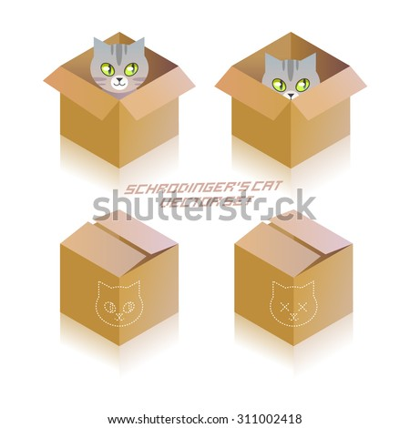 Schrodinger's cat in the box. Vector icon set - stock vector