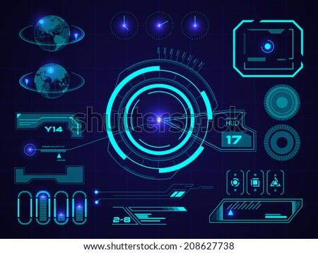 Sci fi futuristic user interface HUD. Vector illustration. - stock vector