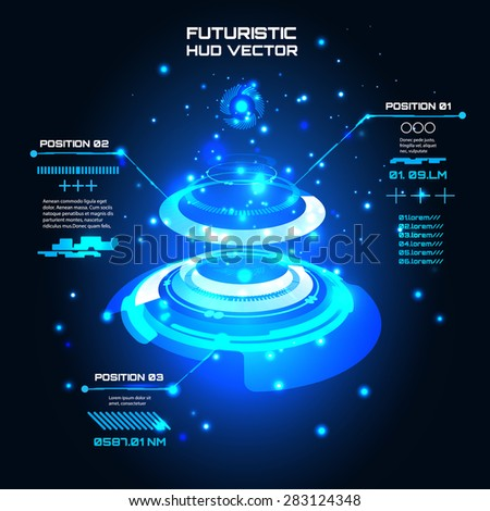 Sci fi Futuristic user interface, info graphics, HUD, technology vector background - stock vector