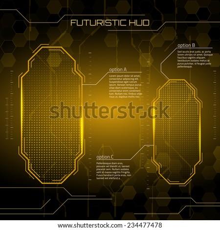 Sci fi futuristic user interface. Vector illustration. - stock vector