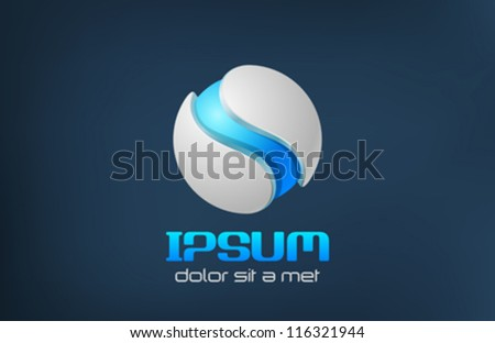 Sci-fi logo template. Hi-tech blue sphere. Vector. Editable. - stock vector