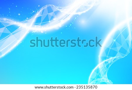 Science abstraction with DNA spyral and triangle polygons. Vector illustration. - stock vector