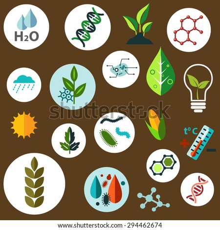 Science and agronomic research flat icons with agricultural crops, chemical formulas, pests, models of DNA and cells, weather, sun, water and temperature control symbols - stock vector
