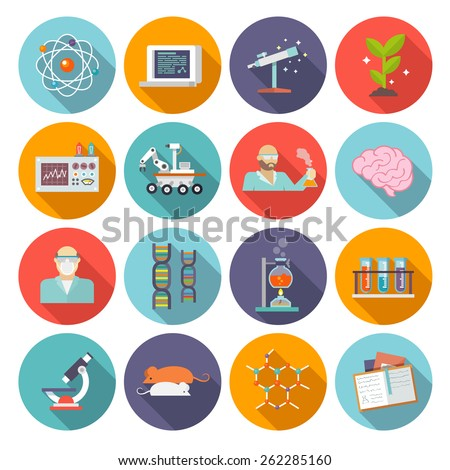 Science and biology chemistry and physics research icon flat set isolated vector illustration - stock vector