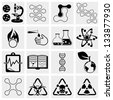 Science and chemistry icon set - stock vector