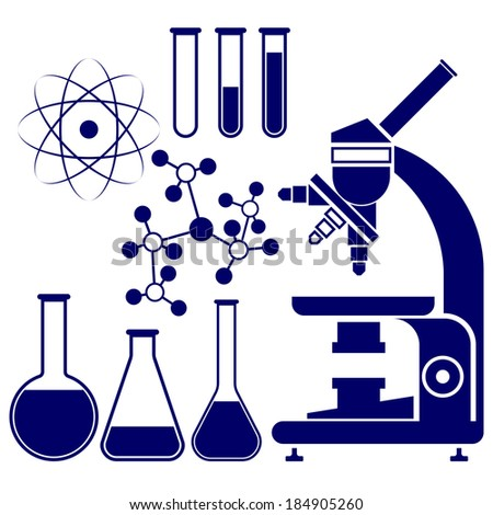 science and chemistry icons set  vector  illustration - stock vector