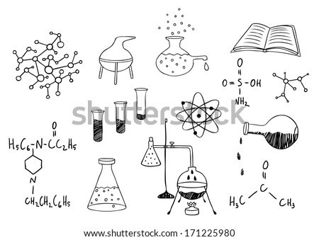 science and chemistry vector set - stock vector