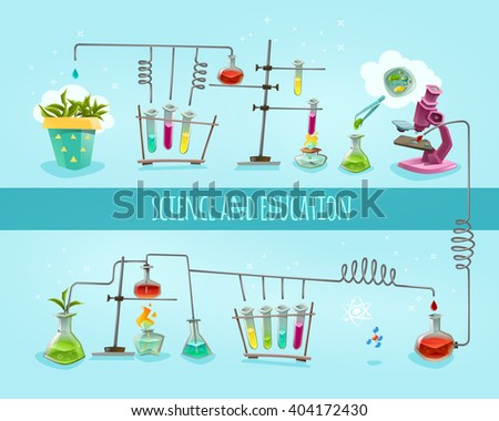 Science and education college school biochemical lab research equipment 2 flat banners horizontal composition abstract vector illustration