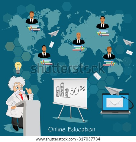 Science and education concept,  distance, online,  learning professor, international students, vector illustration in flat design for web sites, Infographic design  - stock vector