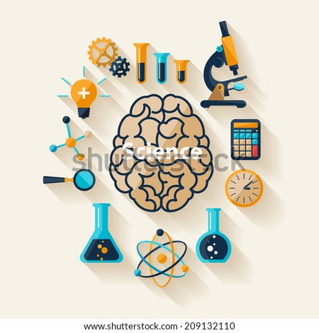 Science and Education. Flat design. - stock vector