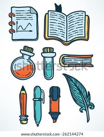 science and education hand drawn icons - stock vector
