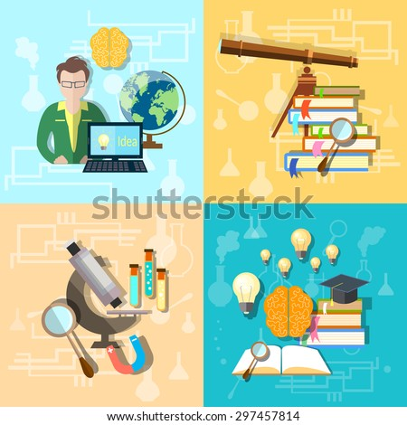 Science and education students college university astronomy chemistry physics biology microscope set vector icons - stock vector
