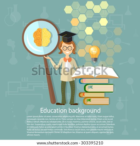 Science and education students teacher professors power brain education ideas open book magnifying glass knowledge back to school university college vector illustration - stock vector