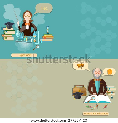 Science and education: teacher student professor lessons school university college biology chemistry physics experiment study vector banners - stock vector