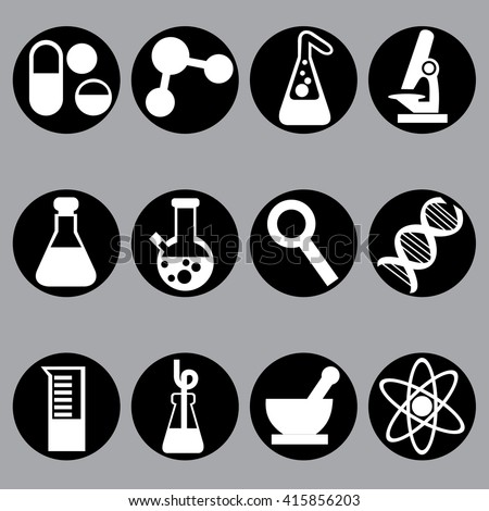 science and laboratory icons Chemistry infographic, vector symbols