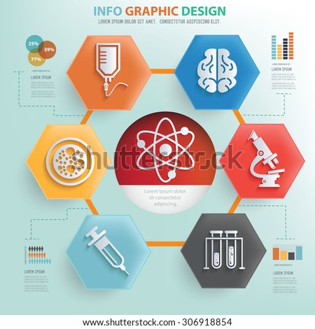 Science and medical concept info graphic design,vector - stock vector