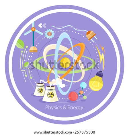 Science and physics energy icons set. Chemistry, physics, biology. Concept in flat design cartoon style on stylish background - stock vector