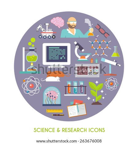 Science and research concept with flat lab equipment icons set vector illustration - stock vector