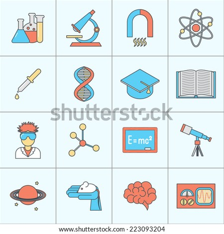 Science and research icon flat line set with beaker microscope magnet isolated vector illustration - stock vector
