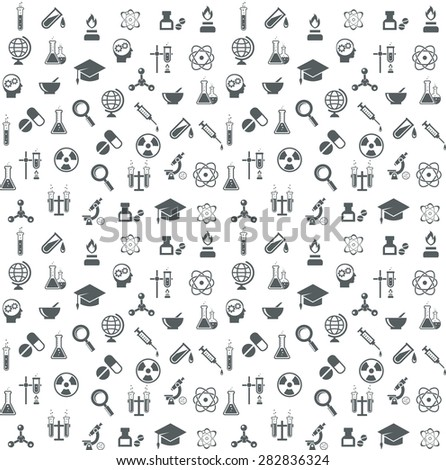 Science and technology seamless vector background. Physics and chemistry, molecule and biology, medicine and atom. Vector illustration - stock vector