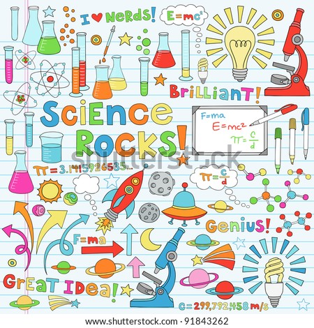 Science Back to School Notebook Doodles Vector Illustration Design Elements Chemestry Physics Icon Set with microscope, molecules, atoms, beakers, light bulb, rocket, and more - stock vector