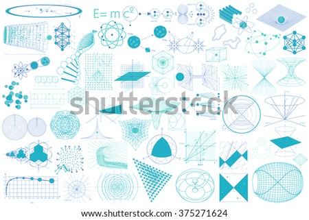 Science. Big collection of elements, symbols and schemes of physics, chemistry and sacred geometry - stock vector