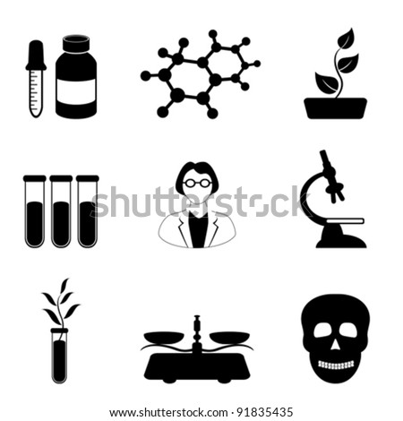 Science, biology and chemistry related icon set in black - stock vector