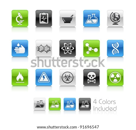 Science Buttons  / The file Includes 4 color versions in different layers. - stock vector