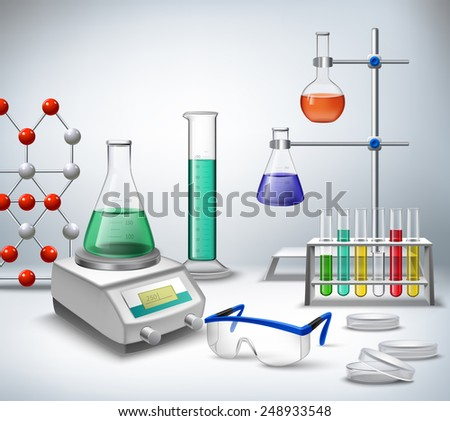 Science chemical and medical research equipment in lab realistic background vector illustration - stock vector